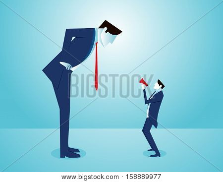 Executive Businessman Accuses One Of His Employees. Concept Business Illustration. Vector Flat