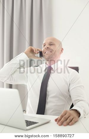 Mid adult businessman on call in office