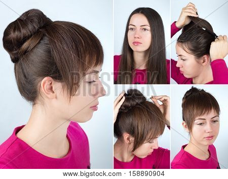 Hair tutorial step by step. Simple hairstyle twisted bun with forelock tutorial. Backstage technique of twist bun and creating bangs. Hairstyle for long hair