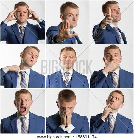 Collage of various businessman poses and expressions