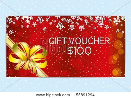 Christmas and New Year red gift voucher with snowflakes.