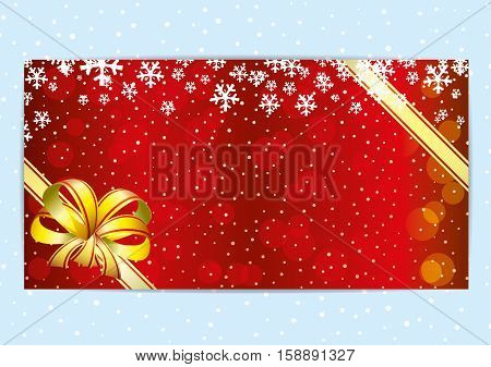 Christmas and New Year red background with snowflakes.