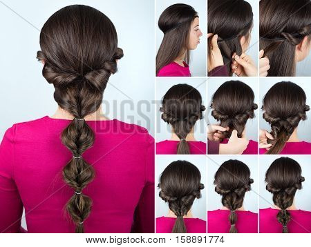 simple greek hairstyle twisted ponytail tutorial. Hairstyle tutorial for long hair. Hair tutorial step by step. Hairstyle for party poster