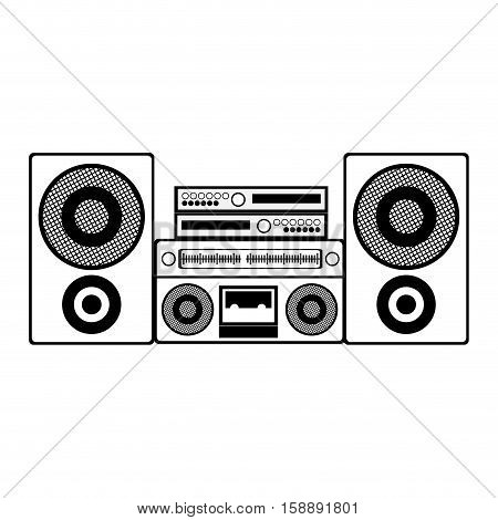 contour monochrome with sound system stereo vector illustration