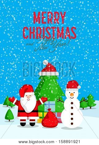 Christmas celebrating concept. Santa with sack of gifts and snowman with presents near Christmas tree during snowfall vector. Merry Christmas and Happy New Year greeting card. Xmas party invitation