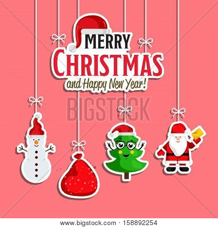 Christmas holiday decoration. Santa Claus, sack of gifts, cute Christmas tree and snowman hanging on ropes vector. Merry Christmas and Happy New Year concept for greeting card, Xmas party invitation