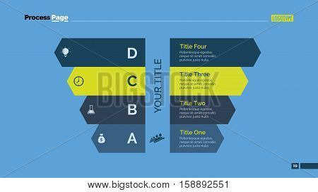 Process chart slide template. Business data. Graph, diagram, design. Creative concept for infographic, templates, presentation, marketing. Can be used for topics like management, strategy, teamwork.