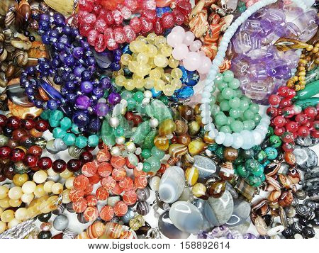 semiprecious beads made of geological minerals set poster