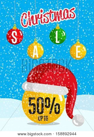 Christmas sale poster. Ball christmas toy in Santa hat, colorful toys hanging on rope in snowfall vector. Merry Christmas and Happy New Year concept for seasonal store sales and discounts promo