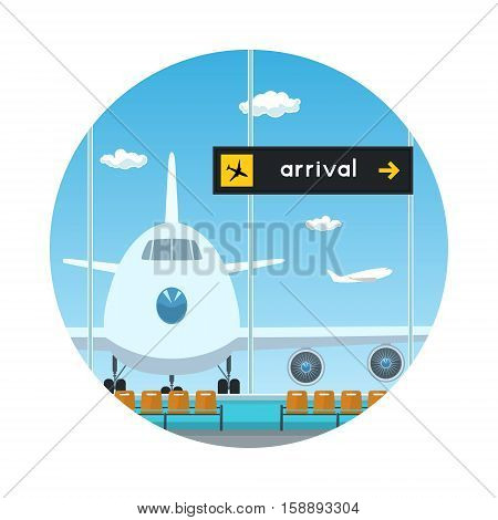 Icon Airport, View on Airplane through the Window from a Waiting Room, Scoreboard Arrivals at Airport, Travel and Tourism Concept, Flat Design ,Vector Illustration