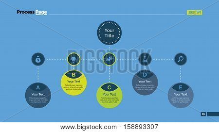 Process mind map slide template. Business data. Chart, graph, diagram. Concept for infographic, business templates, presentation, marketing. Can be used for topics like teamwork, management, planning.