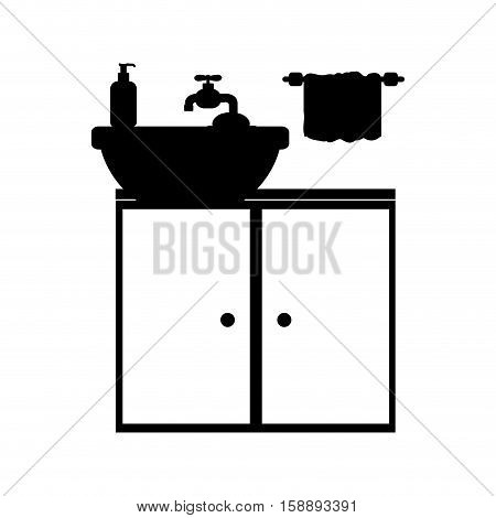 monochrome silhouette washstand with small furniture vector illustration