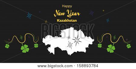 Happy New Year Illustration Theme With Map Of Kazakhstan