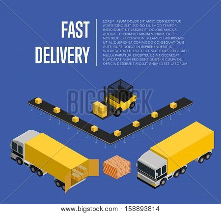 Fast delivery isometric vector illustration. Commercial cargo truck, forklift with boxes, loading process. Warehouse logistics, local delivery service and distribution business, freight shipping