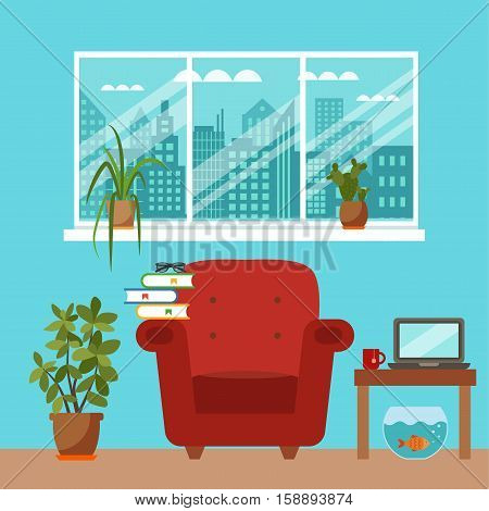 Vector colorful office desk with indoor plants. Work interior design elements: laptop, indoor plants. Office desk closeup with indoor plants. Flat style workplace with potted flower illustration.
