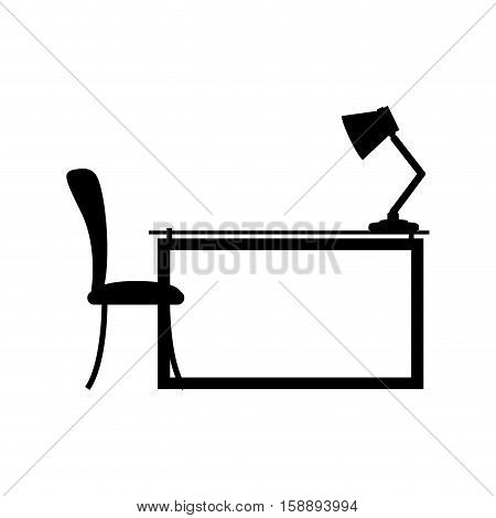 side view desk with chair and lamp vector illustration
