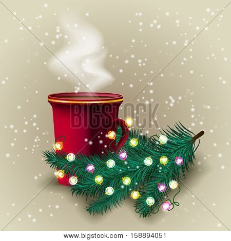 Christmas hot Coffee Cup with branch green tree with glowing garland. Vector Illustration.