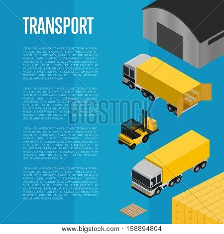 Commercial cargo transport isometric vector illustration. Forklift with packing boxes loading freight truck near warehouse. Local delivery service and distribution business, freight shipping concept