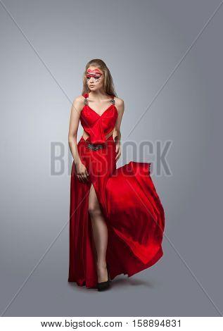 Blonde In Windy  Dress.