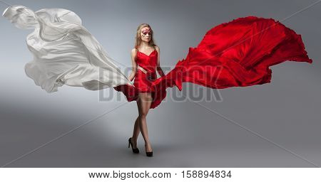 Blonde In Windy Red And White Dress