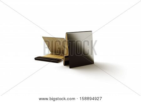 Blank black promo matches book mock up 3d rendering. Dark paper match box packaging mockup.
