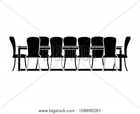 monochrome silhouette with Dining room vector illustration