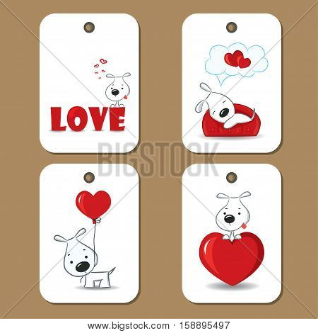 Tags with cute dogs in love. Vector illustration