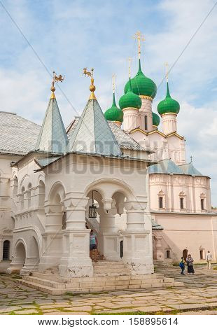 RUSSIA, Rostov Veliky. AUGUST 26, 2015 Gate Church of St. John Evangelist in Rostov Veliky was built in 1683. Researchers note that this monument of history and architecture looks more elegant than other Kremlin church.