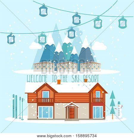 Welcome to the ski resort banner vector illustration. Snow covered cottages of ski resort on background snowy mountain landscape. Family vacation, ski resort in mountains, winter extreme sports. Ski resort ads for travel agency.
