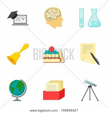 School set icons in cartoon style. Big collection of school vector symbol stock
