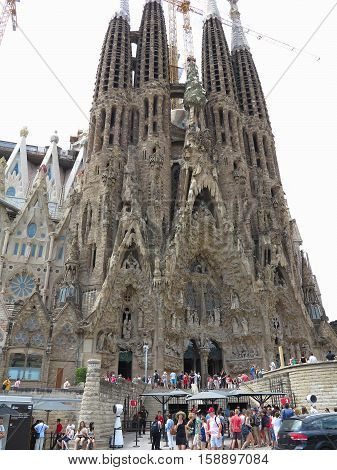 05.07.2016 Barcelona Spain. Sagrada Familia church under construction with building cranes.