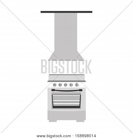 gray scale silhouette stove with with extractor hood vector illustration