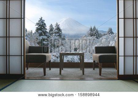 Beautiful Mt.Fuji view at window resort near Kawaguchiko lake at Japan. winter Travel Vacation and Holiday in Japan.
