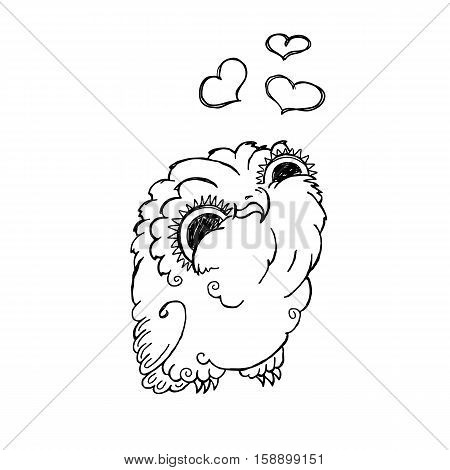 Cute Owl Doodle Illustration. Grunge Kawaii Picture. Vector Lovely Owlet.