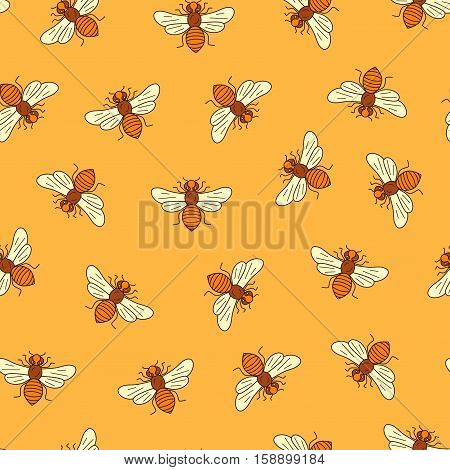 Vector seamless honey bee pattern made in outline style. Apiary design mead bee pattern for packaging, cards.