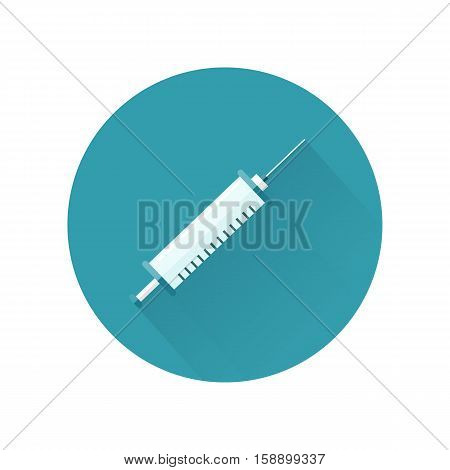 Syringe for injections vector in flat style. Sterile medical supplies for vaccinations and anesthesia. Illustration for health care concepts. Isolated on white background