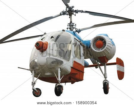 Old russian double rotor helicopter K-26 isolated over white background