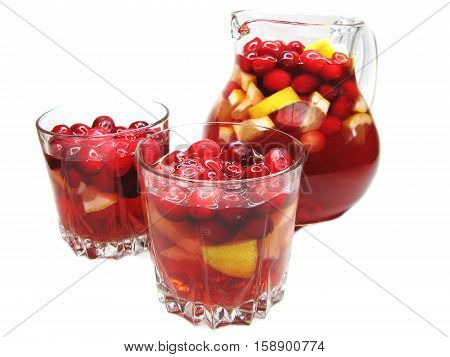 fruit cruchon cocktail punch in jug with ice and fruit