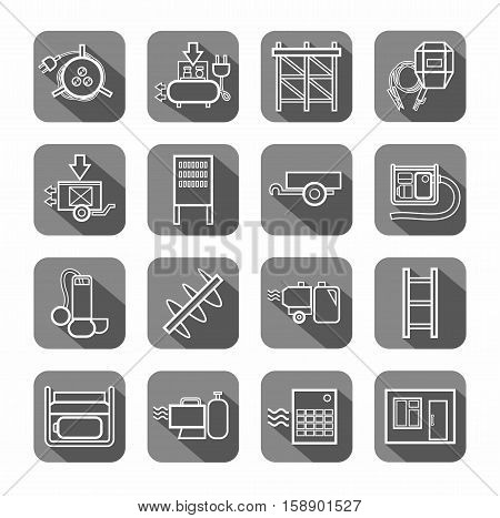 Electric equipment and construction equipment, contour icons, gray. Vector, white linear image electric, gas, and construction equipment on a gray background with shadow.