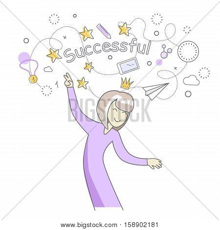 Happy woman in purple dress dancing. Woman dancing icon. Successful woman having fun and dancing. Woman rejoices, celebrates his victory, success. Line art. Isolated object on white background.