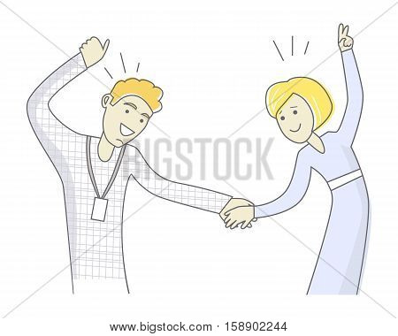 Loving young couple dancing. Man and woman dancing. Sweet couple having fun and dancing together. Couple dancing rock n roll. Retro swing dancing. Line art. Isolated object on white background.
