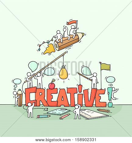 Cartoon working little people with big word Creative. Doodle cute miniature scene of workers about creativity and startup. Hand drawn cartoon vector illustration for business design.