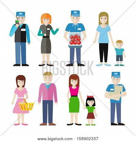 Set of store personnel and customer characters illustrations. Flat style. Security, worker, cashier, seller,    buyers, clients, consumer male, female and child figures. Isolated on white background