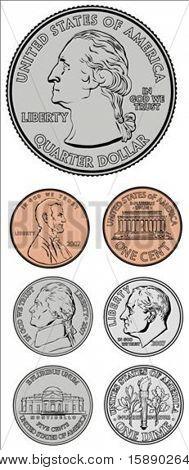 Conjunto de moedas de vetor. Todas as peças são separadas e fácil de editar.