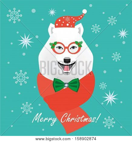Christmas Bear. Flat style illustration. Christmas Greeting Card. Hipster Dog husky. Christmas photo booth