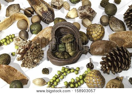 Christmas festival background image of a traditional potpourri selection. Typical seasonal Christmas card image