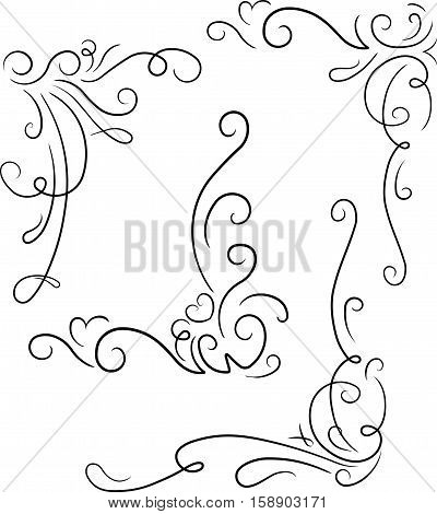 Set Of 4 Ornamental Decorative Floral Corners. Vector Illustration For Your Design Or Tattoo.