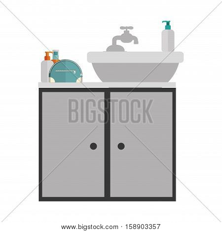gray scale silhouette washstand with cabinet vector illustration