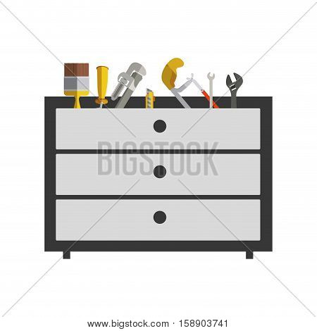 silhouette color with rack tools box vector illustration
