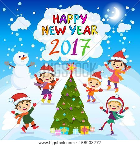 Happy New Year. 2017. Winter Fun. Cheerful Kids Playing In The Snow. Stock Vector Illustration Of A